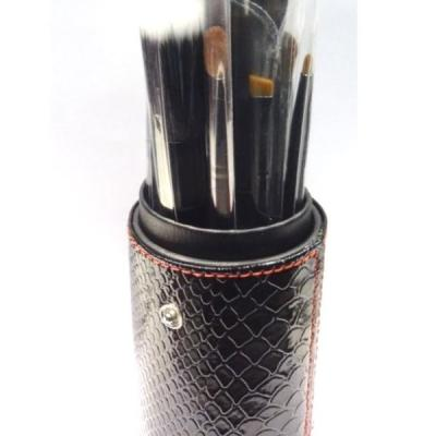 Pot cuir 12 pinceaux maquillage - Noir croco
