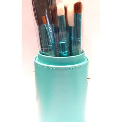 Pot cuir 12 pinceaux maquillage - Turquoise