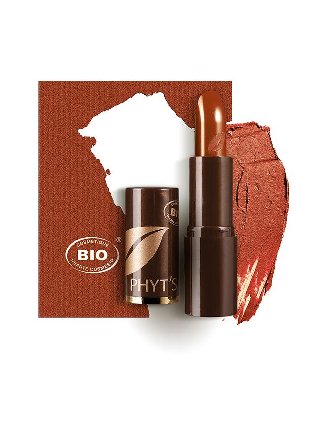 Image rouge a levres rouge cuivre phyts organic make up embellissetvous