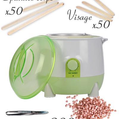 Kit complet - Epilation cire chaude - Vert